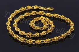 "18"" HANDMADE 22K YELLOW GOLD UNIQUE DESIGN ROLO LINK BYZANTINE CHAIN NEC... - $1,405.79"