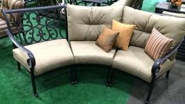 Patio Sofa Outdoor Circular bench cast Aluminum Santa Anita 3pc Seating Bronze image 2
