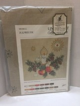 """Lindhorst Tablecoth Embroidery Germany 32"""" X 32"""" Fir Wreath Candle Star"""