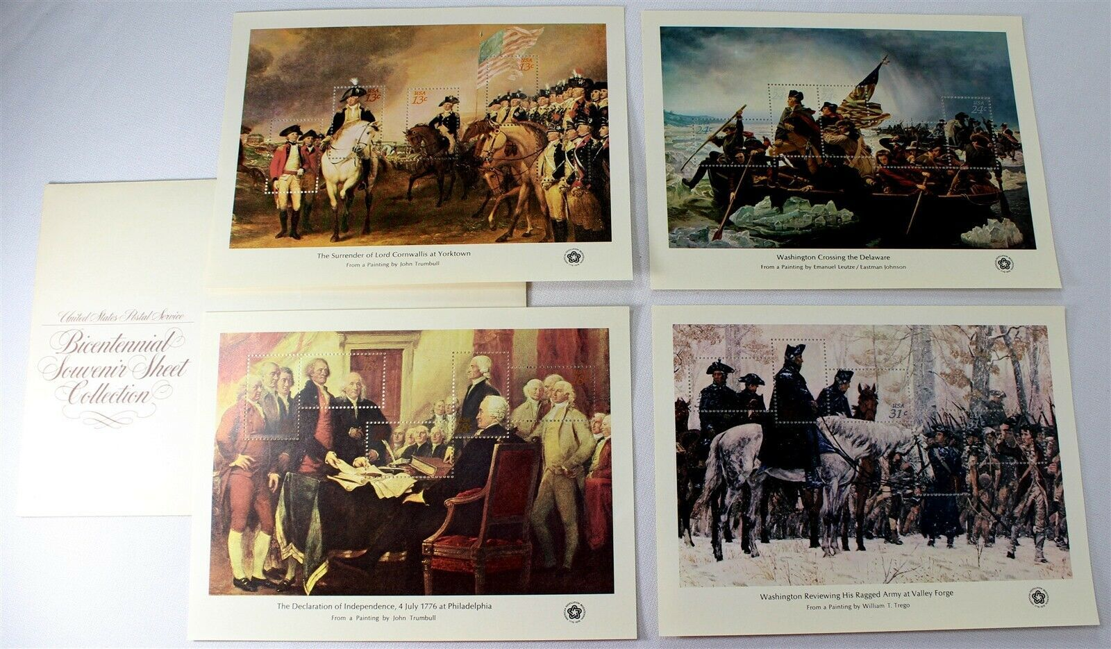USPS Bicentennial Souvenir Sheet Collection, 1976, 4 Different Sheets, Near Mint