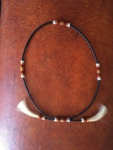 NATIVE AMERICAN BEADED HATBAND WITH HORSEHAIR ACCENT BY VIRGIL WHITMAN N... - $110.00