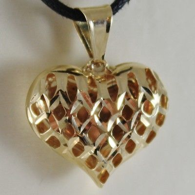 18K YELLOW GOLD ROUNDED HEART CHARM PENDANT FINELY WORKED, DRILLED MADE IN ITALY
