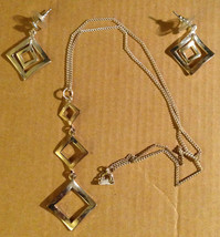 Vintage 1970s Silver Geometric Triple Diamond Shaped Dangles Necklace & Earrings - $41.67
