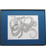 Octopus, Pen and Ink, Framed Matted Sea Life Art Print Art Drawing - $39.00