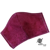 Face Mask Dark Burgundy Maroon Small Print Cotton Facemask Handmade USA - $13.50