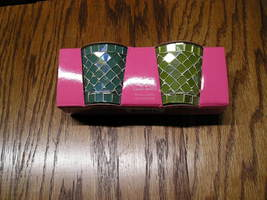 Hallmark Mosaic Votive Candle Holders Set Of 2 In Original Box Green And Blue - $10.99
