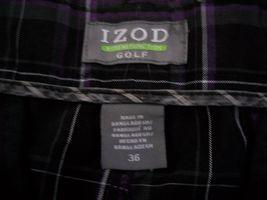 "IZOD Plaid Flat Front Golf Shorts Men's W36 Inseam 9"" 100% Polyester image 4"