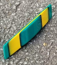 Vintage Lucite Layered Teal Green Black Yellow Geometric Pin W56 - $24.75