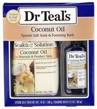 Dr Teal's Coconut Oil Epsom Salt Soak & Foaming Bath 2-Piece Travel Gift... - $14.85