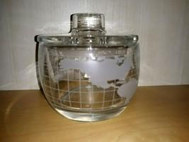 Vintage 60's Kitchen NESTLENescafe Heavy Etched Glass World Map Sugar B... - $19.34