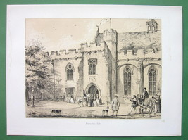 ENGLAND Penshurst Manor House Built in 1341 - Sepia Color Litho Print - $15.26