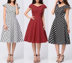 Women's Cap Sleeve Polka Dots 1950s Retro Vintage Swing Dress Summer Sho... - $35.89
