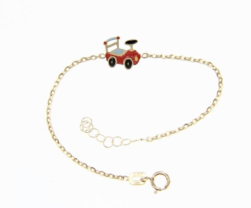 18KT YELLOW GOLD BRACELET FOR KIDS WITH GLAZED LITTLE TRAIN MADE IN ITALY 5.5 IN