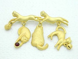 VTG AJC Signed Matte Gold Tone Red Rhinestone Cat Dangle Pin Brooch - $19.80