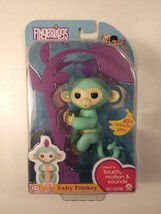 Authentic Fingerlings Interactive Baby Monkey By Wow Wee ZOE- Teal W Bonus Stand - $15.37