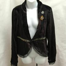 BCBGirls L Jacket Black Velveteen Beaded Organza Trim New - $22.04