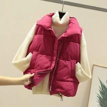 New fuchsia warm padded winter vest with pockets sleeveless waistcoat pl... - $38.00