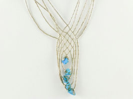 Liquid Silver and Turquoise Mesh NECKLACE - Sterling Silver 16 inches pl... - $45.00