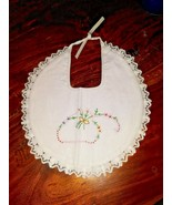 Vintage 1980s Embroidered Baby Bib - Flowers Floral Lace - $8.90