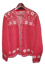 Red and White Snowflake Women's Size XL Cardigan Sweater--FREE Express S... - $18.00