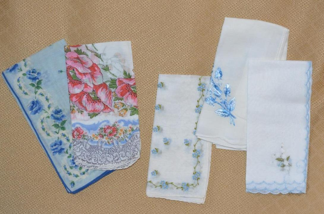 Primary image for 5 Vintage Hankies Handkerchief Lot blue & white