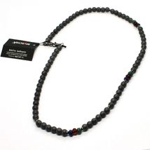 925 STERLING SILVER NECKLACE BURNISHED WITH HEMATITE AND AGATE MADE IN ITALY BY image 6