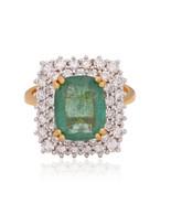Genuine Emerald Gemstone Cocktail Ring HI/SI Diamond 18k Yellow Gold Jew... - $1,693.94