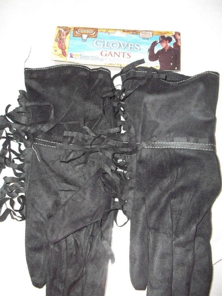 """Fringed Black Biker or Cowboy Gloves  Polyester Fringe Stretch 13"""" Long"""