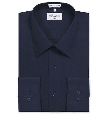 Berlioni Italy Men's Classic Standard Convertible Cuff Navy Dress Shirt - XL