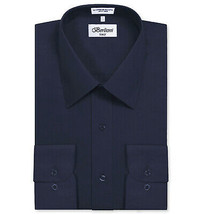 Berlioni Italy Men's Classic Standard Convertible Cuff Navy Dress Shirt - XL