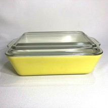VTG Pyrex Primary Yellow Refrigerator Dish 503 B With Ribbed Lid 503-C F... - $21.73