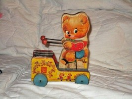 Vintage Antique Collectible Fisher Price Tiny Teddy Xylophone Pull Toy W... - $18.27