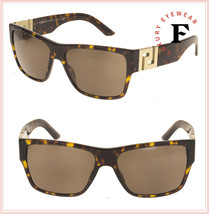 VERSACE GRECA Square Sunglasses VE4296 Havana Brown Unisex 4296 Authentic - $244.53