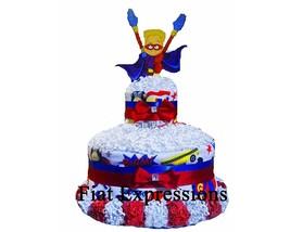 Superhero 2 Tier Diaper Cake Baby Shower Gift & Centerpiece - $49.00