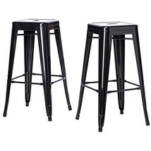 ModHaus Living Set of 2 Black French Bistro Tolix Style Metal Bar Stools... - $96.89