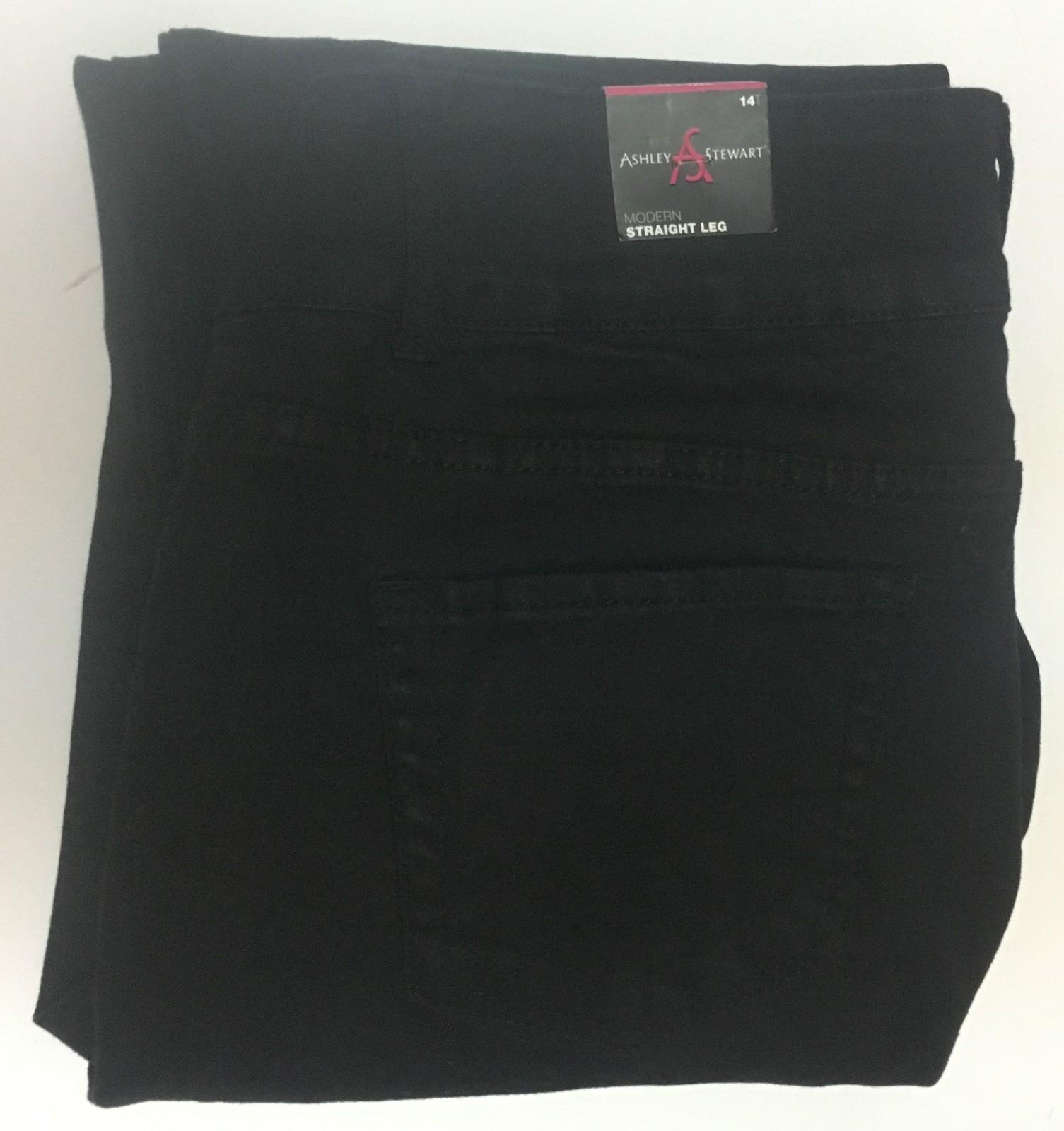 Ashley Stewart Jeans Black Straight Leg Sz 14 NWT