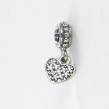 Pandora 791023CZ Charm Bead Dangle Pave Heart Cubic Zirconia Sterling Ne... - $28.12