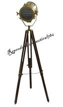 Nautical Wooden Tripod Spotlight Studio Floor Lamp Vintage Marine Search... - $118.40