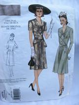 Vogue Pattern 2876 VTG Dress 1943 Design Reprint Size D 12 14 16 Retro Wrap - $19.95