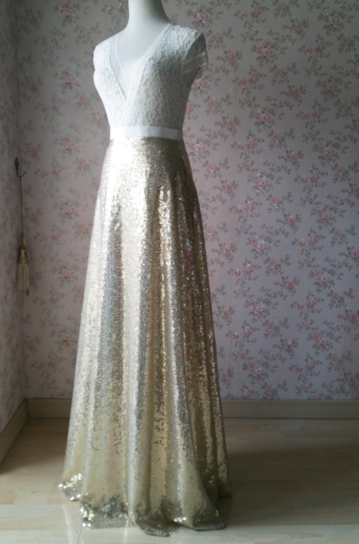 BLACK GOLDEN Sequined Maxi Skirt High Waist Full Sequined Maxi Skirt Prom Skirts image 4