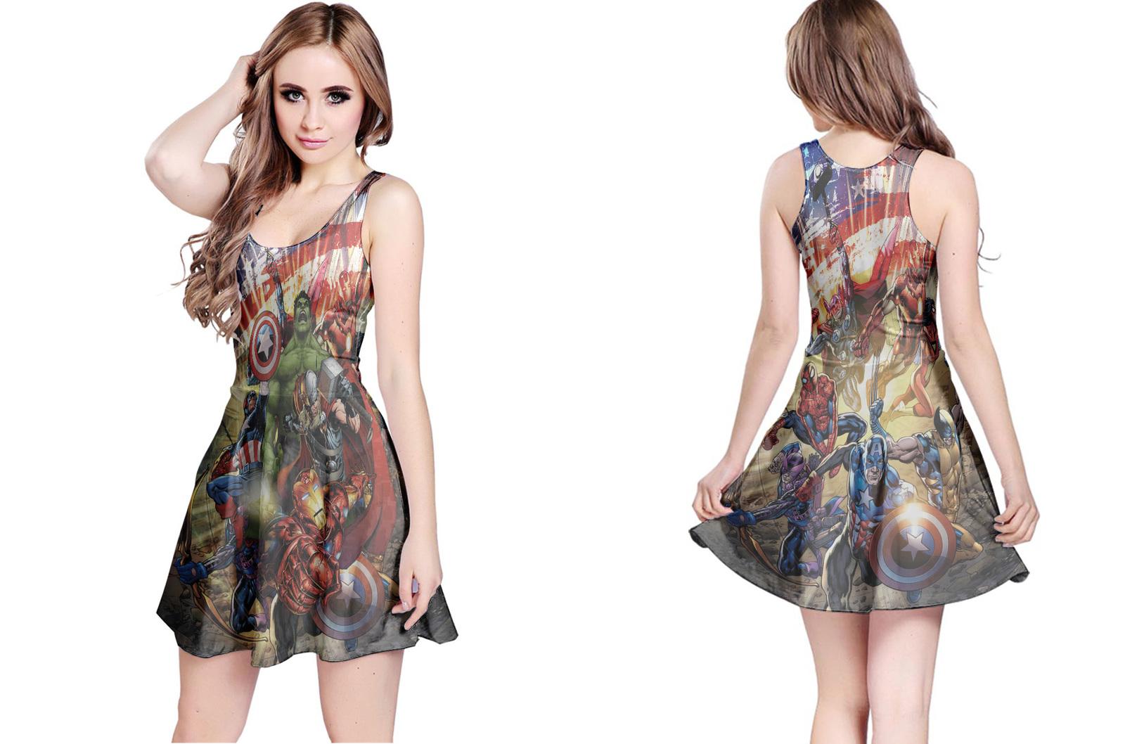 Rare new the avengers marvel reversible dress