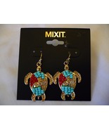 Women's Mixit Gold Tone Earrings Red & Blue Beaded Dangle Sea Turtles  NEW - $14.84