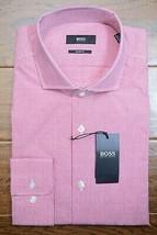 HUGO BOSS Hombre Mark Sharp Fit Rosa Escocesa Algodón Camisa 42L 16.5L 3... - $64.34