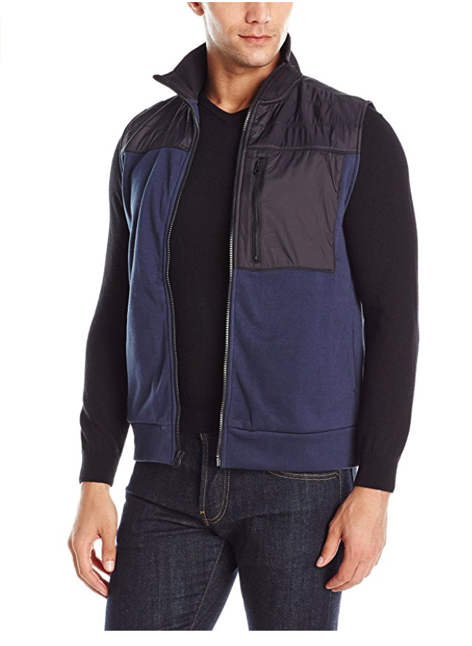 Kenneth Cole REACTION Men's Tech Fleece Vest, Indigo, Size S