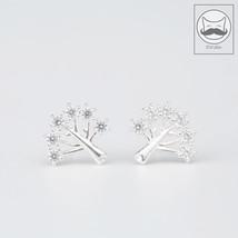 Xmas Tree Thanksgiving Wish ChirstmasWishing Tree Snow Earrings 925 Silv... - $22.98