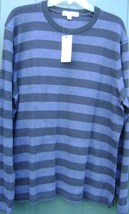 CALVIN KLEIN MEN'S SWEATER 100% COTTON LARG STRIPE CREWNECK BLUE LONG SL... - $74.80