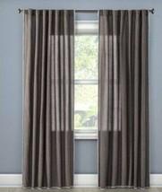2 Threshold Stiched Edge Dark Gray Window Panel Curtain Set New 54x95 - $54.44
