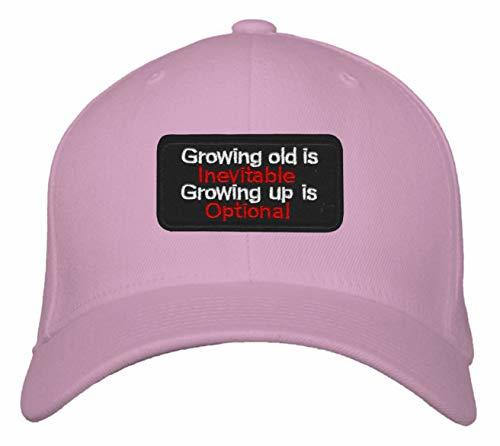 Growing Old Is Inevitable Growing Up Is Optional Hat - Adjustable Womens Pink Ca