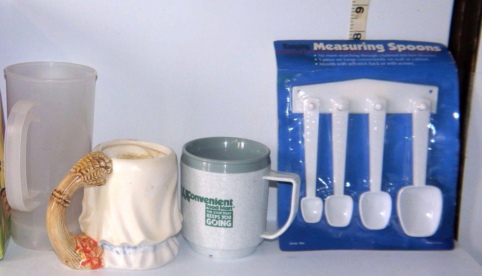 Mixed Lot 5 Items Measuring Spoons, Plastic Coffee Cups, Pilgrim Girl Candle Mug