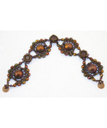 Bead Weave Bracelet, Swarovski Copper Crystals, Hand made - $49.00